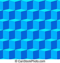 Abstract background with blue 3d cubes Seamless pattern...