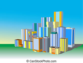 City illustration - Vector illustration of common down-town...