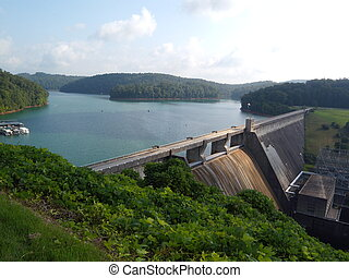 Norris Lake Dam in Tennessee - Distant view of Dam in...