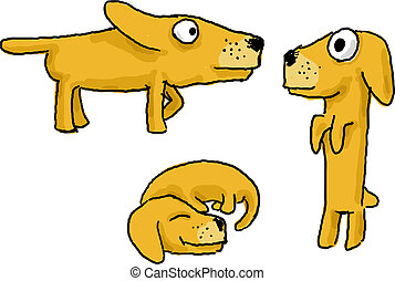 Cartoon active dog funny illustration in various poses