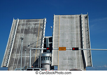 Two Lane Bascule Bridge in Lifted Position - View of Two...