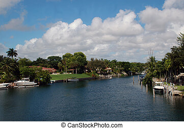 Residential Canal in Miami - View of Residential Canal Found...