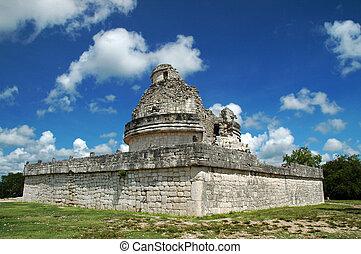 antiguo, Maya, Observatorio, Yucatán