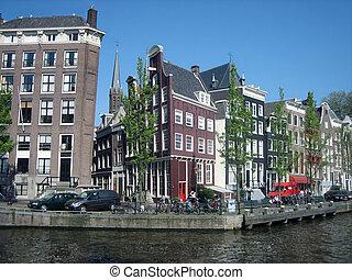 pueblo, Casas, inclinado,  Amsterdam