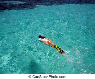 Female Snorkeler Swimming to Reefs in the Caribbean