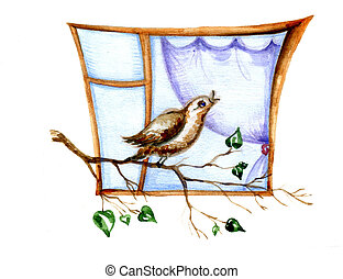 baby drawing of the bird on branch