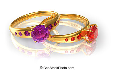 Golden wedding rings with jewels