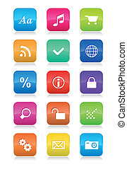 Mobile phone interface icons set