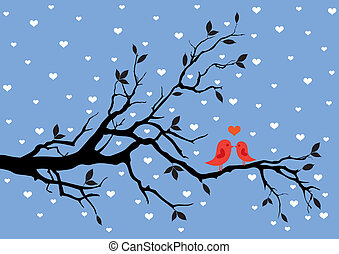 winter love - birds in love, kissing on a tree, vector...