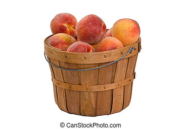 Peaches - Basket of fresh peaches, isolated on white,...