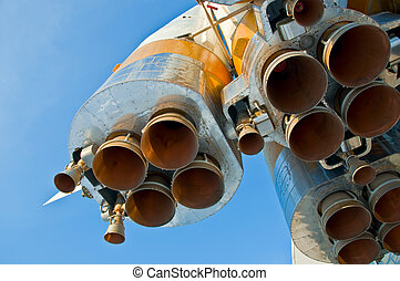 Nozzles space rocket Soyuz Close-up on a background of clear...