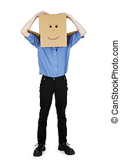 Funny man put on his head a box with a painted smile