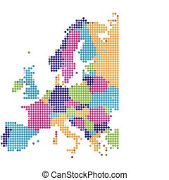 Dot Style Illustration of Europe Map