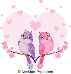 Birds in love - Two very cute pink birds in love