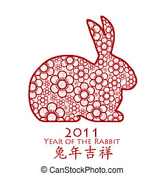 Year of the Rabbit 2011 Chinese Flower - Year of the Rabbit...