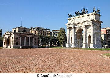 Milan, Italy. Arco della Pace (Arch of Peace) in Sempione...
