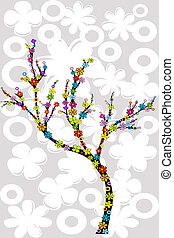 Abstract tree with multicolored flowers