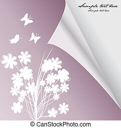 Curled corner greeting card with flowers and butterflies