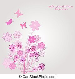 Spring composition with pink flowers and butterflies