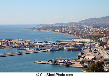 Malaga, Spain - Malaga in Andalusia, Spain Aerial view of...