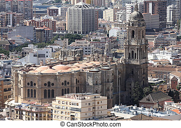 Malaga in Andalusia, Spain Aerial view of the Cathedral