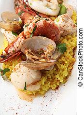 Seafood paella cuisine