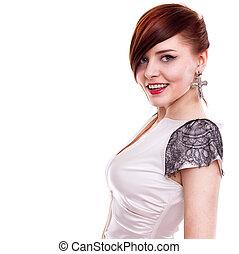 stylish beautiful woman portrait on white background