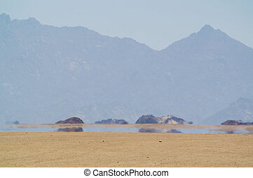 Mirage in desert - Mirage (water) in desert, Africa