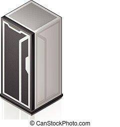 Network Server Rack Isometric 3D Icon part of the Computer...