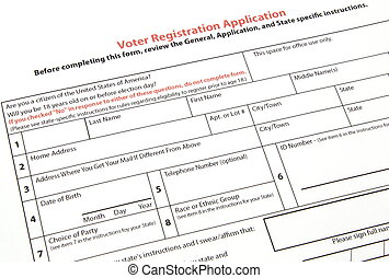 Voter registration form - A United States voter registration...