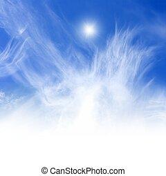 Peaceful blue sky, bright sun, white copyspace below