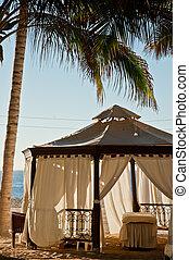 Massage tent - A massage tent on a tropical beach