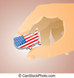 USA between my fingers