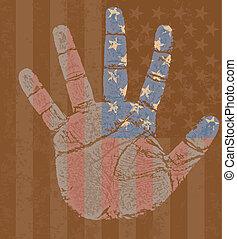 USA flag in my hand - High detailed illustration of an USA...