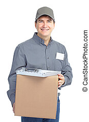 Delivery worker. Handsome worker with a box. Isolated over...