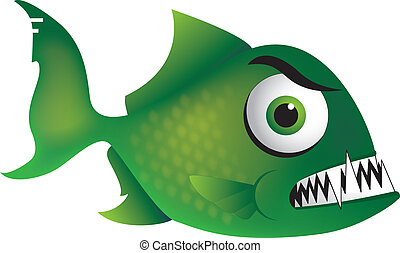 Angry Piranha - A Piranha cartoon illustration with an angry...