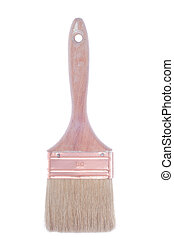 Paint brush - used and dirty paint brush isolated on white...