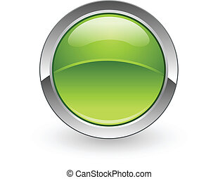 Green sphere button - A vector green sphere push button