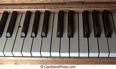 Closeup of Automatic Player Piano Keys - An old antique...