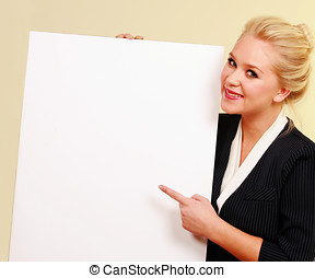 Business message and girl - Smiling blonde woman holiding...