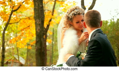 bride and groom in autumn park - bride and groom sitting on...