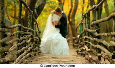 bride and groom at the wooden bridg - the bride and groom at...