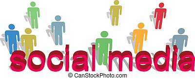 Social media words people symbol text - Stick figure people...