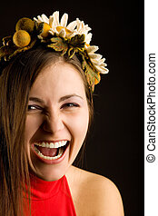 Smile young pretty woman with wreath