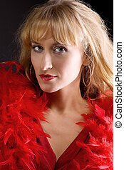 Beauty mature woman in red boa
