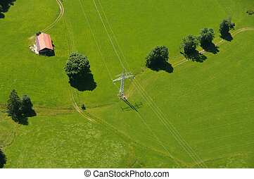 aerial view landscape - Aerial view of random landscape in...