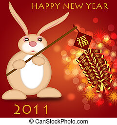 Happy Chinese New Year 2011 Rabbit Holding Firecrackers