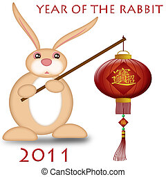 Happy Chinese New Year 2011 Rabbit Holding Lantern Bokeh...