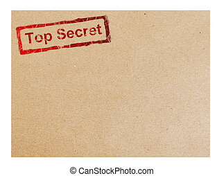 Cardboard - Red top secret stamp on cardboard background,...
