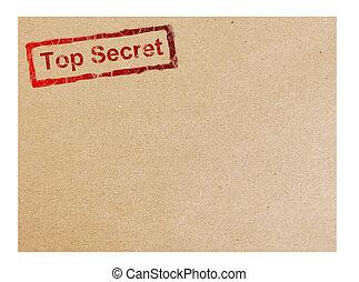 Cardboard - Red top secret stamp on cardboard background,...